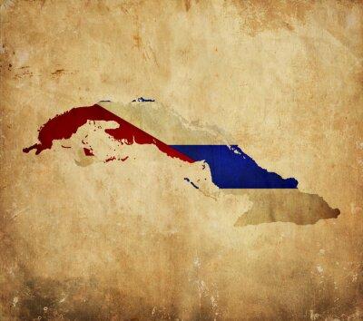 Image Carte vintage de Cuba sur papier grunge