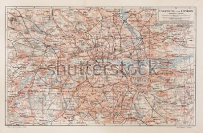 Image Carte vintage de Londres et ses environs - Photo de la collection de livres Meyers Lexicon (publiée en langue allemande) publiée en 1908.