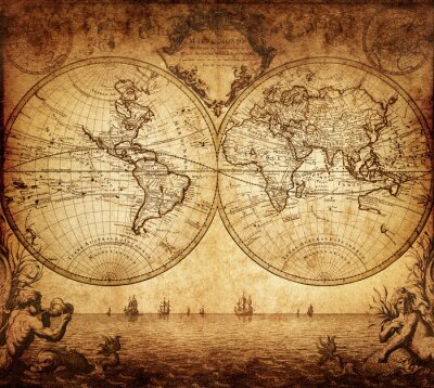 Image carte vintage du monde 1733