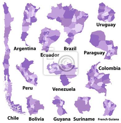 Carte Damerique Du Sud Avec Les Pays.Cartes Vectorielles Des Pays Damerique Du Sud Avec Divisions