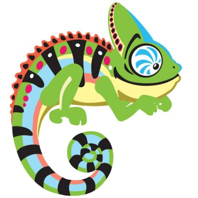 Image cartoon chameleon lizard . Side view image isolated on white