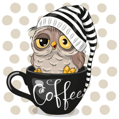 Image Cartoon owl is sitting in a Cup of coffee