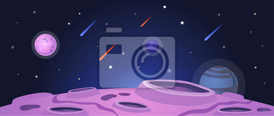 Image Cartoon space banner with purple planet surface with craters on night galaxy sky
