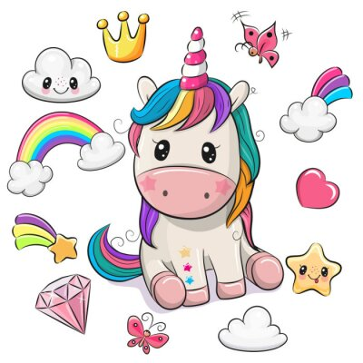 Image Cartoon Unicorn and set of cute design elements