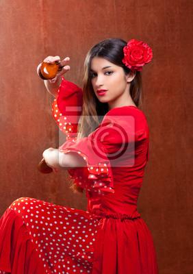 Castagnettes Gitane Danseuse De Flamenco En Espagne Fille Peintures Murales Tableaux Moraine Gipsy Carmen Myloview Fr