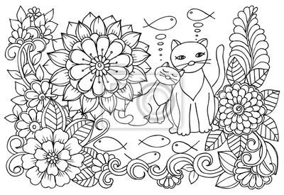 Coloriage Fleur Hippie.Cat Reve De Poissons Savoureux Coloriage De Fleurs Monochromes