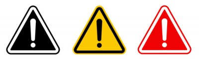 Image Caution alarm set, danger sign collection, attention vector icon, yellow, red and black fatal error message element, exclamation mark of warning attention icon