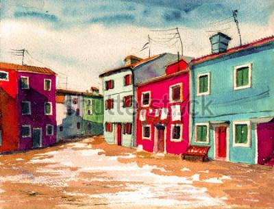 Image Célèbre Venise île italienne couleurs vives maisons aquarelle peinture illustration affiche dessinés à la main oeuvre textile modèle toile de fond