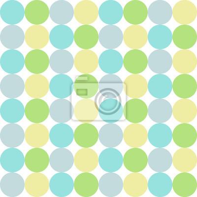 Image Cercles Colores Bleu Vert Gris Jaune Pastel Seamless Pattern