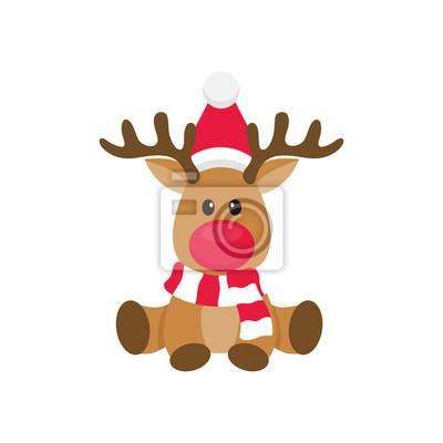 Cerf De Noel Dessin Anime Peintures Murales Tableaux Rudolph Noel