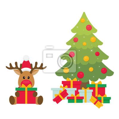 Cerf De Noel Dessin Anime Avec Cadeau Et Sapin Peintures Murales Tableaux Noel Joyeux Santa Myloview Fr