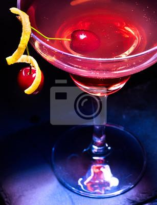 Cerise, cocktail, verre, cerise, baie, noir, fond Vue de dessus.