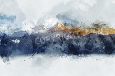 Image Chaînes de montagnes abstraites dans la lumière du matin, aquarelle numérique