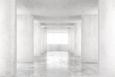 Image Chambre vide avec murs en béton, plancher en béton et grande fenêtre, 3