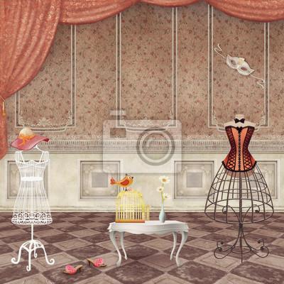 Chambres avec mannequins de mode vintage