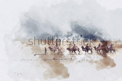 Image Chameaux et personnes marchant sur la route de la soie et du désert, illustration numérique à l'aquarelle