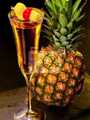 Champagne  cocktail with cherry and pineapple 67.