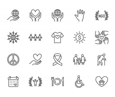 Image Charity flat line icons set. Donation, nonprofit organization, NGO, giving help vector illustrations. Outline signs for donating money, volunteer community. Pixel perfect 64x64. Editable Strokes