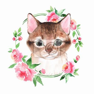 Chat. Chaton mignon et des fleurs. Peinture à l'aquarelle