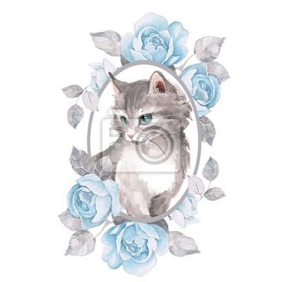 Chat. Chaton mignon et roses. Illustration aquarelle