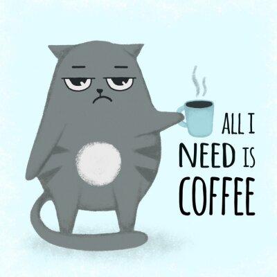 Image Chat dessiné à la main de dessin animé bleu mignon avec une tasse de café. Chat tenant une tasse.