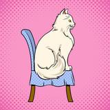 Chat Fminin Est Assis Sur Le Vecteur De Chaise Pop Art