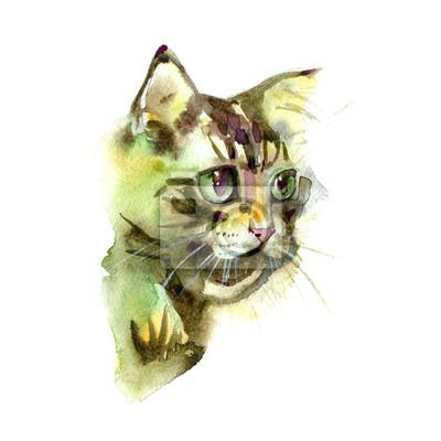 Chat mignon. Illustration aquarelle. T-shirt imprimé. Carte de voeux. Poster Kitten.