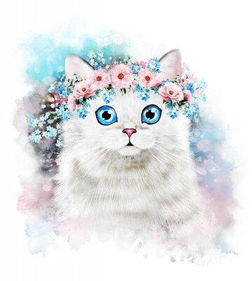 Chat mignon. Illustration de chat d'aquarelle. T-shirt imprimé. Carte de voeux. Affiche Chaton. Couronne de fleur et peinture éclaboussure. Isolé, chat