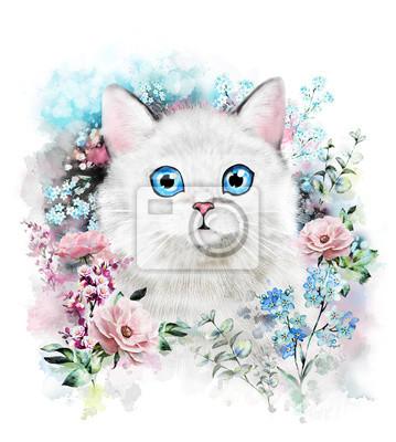 Chat mignon. Illustration de chat d'aquarelle. T-shirt imprimé. Carte de voeux. Affiche Chaton. Fleur et peinture éclaboussure. Isolé, chat