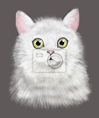 Chat mignon. Illustration de chat d'aquarelle. T-shirt imprimé. Carte de voeux. Affiche Chaton. Isolé, chat