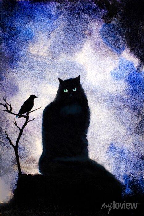 Image chat noir aux yeux verts