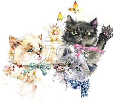 chatons mignons. illustration aquarelle de chats jouant.