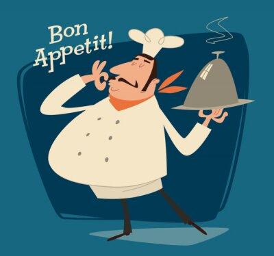 Image Chef du restaurant, rétro illustration