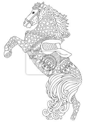 Coloriage Cheval Zen.Image Cheval Image Dessinee A La Main Croquis Pour Livre De Coloriage