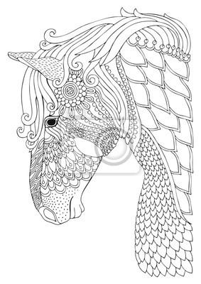 Coloriage Adulte Cheval.Cheval Image Dessinee A La Main Croquis Pour Livre De Coloriage