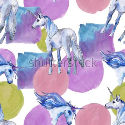 Image Cheval licorne mignon. Les enfants de conte de fées font de beaux rêves. Motif de fond transparent de corne animal arc-en-ciel. Texture de papier peint en tissu. Sauce aquarelle