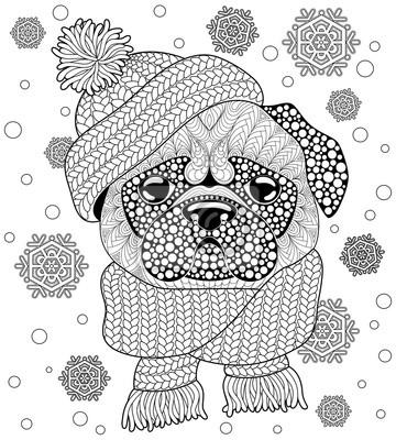 Coloriage Chien A Trois Tete.Image Chien Carlin Avec Bonnet Et Echarpe Tatouage Ou Coloriage Antistress
