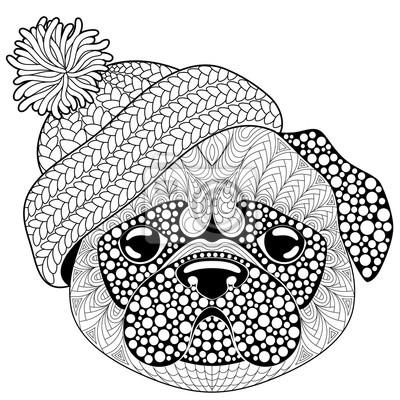 Image Chien Carlin Avec Un Bonnet Tricoté Tatouage Ou Coloriage Antistress
