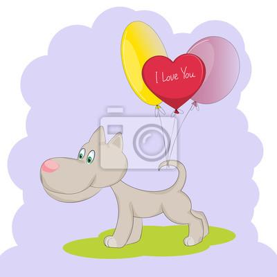 Chien Mignon Avec Des Ballons Valentines Jour Carte Chiot