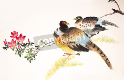 Image Chinois, encre, peinture, oiseau, plante