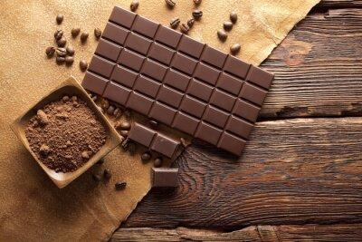 Image Chocolat noir, cacao et grains de café