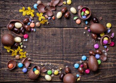 Image Chocolat, Pâques, oeufs, doux, bois, fond