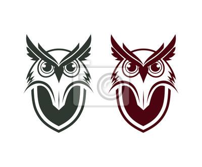 La Chouette Symbole chouette tête animale avec bouclier sur le symbole du logo