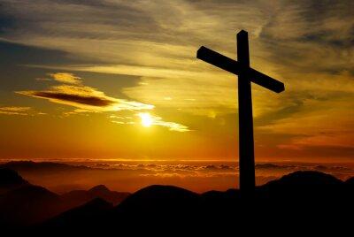 Image Christian cross on sunset background