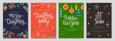 Image Christmas gift card and invitation set with lettering. Hand drawn design  elements. Perfect for winter holidays and New Year greetings.