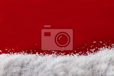 Christmas red background and snow flakes