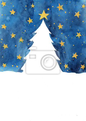 Christmas tree in snow with night sky and gold star watercolor hand painting  for decoration on winter season and Christmas holiday.