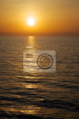 Ciel Coucher De Soleil Vue De La Mer Reflets Dores Sur Leau