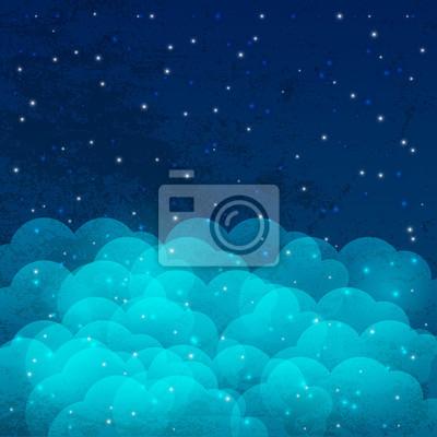 Ciel de nuit avec des étoiles brillantes et les nuages