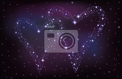 Ciel de nuit avec deux étoiles coeurs, illustration vectorielle